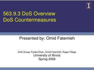 563.9.3 DoS Overview DoS Countermeasures