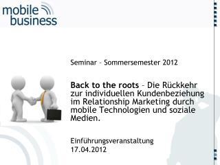 Seminar  –  Sommersemester 2012