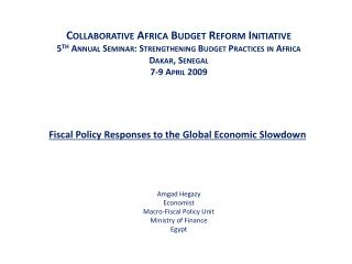 Fiscal Policy Responses to the Global Economic Slowdown