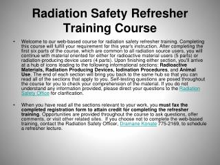 Radiation Safety Refresher Training Course