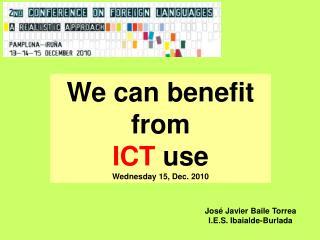 Con las TIC  SÍ  Podemos Miércoles 15 diciembre, 2010