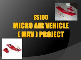 ES100 MICRO  AIR VEHICLE  ( MAV ) Project