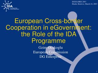 European Cross-border Cooperation in eGovernment:  the Role of the IDA Programme