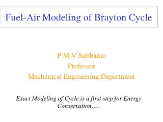 Fuel-Air Modeling of Brayton Cycle