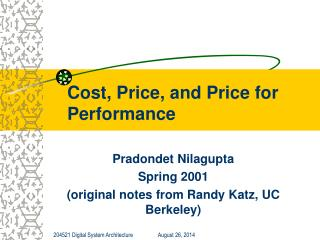 Cost, Price, and Price for Performance