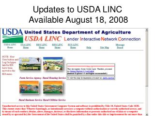 Updates to USDA LINC  Available August 18, 2008