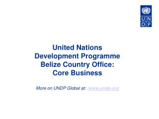 United Nations Development Programme Belize Country Office: Core Business