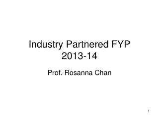 Industry Partnered FYP 2013-14