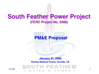 South Feather Power Project (FERC Project No. 2088)