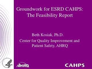 Groundwork for ESRD CAHPS: The Feasibility Report