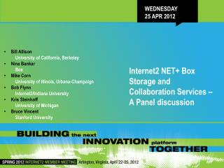 Wednesday 25 Apr 2012