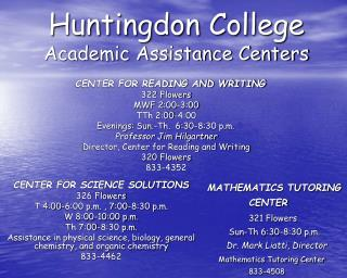 Huntingdon College Academic Assistance Centers