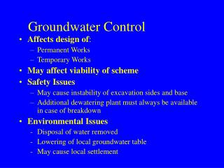 Groundwater Control
