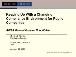 Scott M. Stanton Morrison & Foerster Kristopher L. Hanson SAIC January 26, 2007