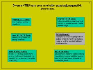 Diverse NTNU-kurs som inneholder populasjonsgenetikk: Emner og tema