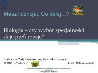 Ustalenia Rady Programowej kierunku biologia