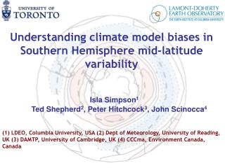 Understanding climate model biases in Southern Hemisphere mid-latitude variability