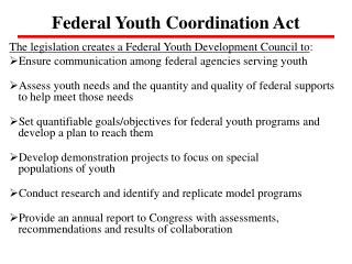 Federal Youth Coordination Act