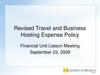 Revised Travel and Business Hosting Expense Policy