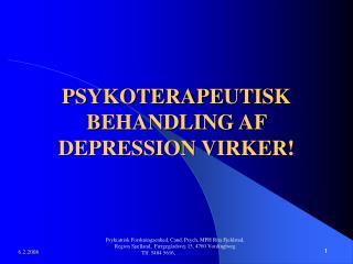 PSYKOTERAPEUTISK BEHANDLING AF DEPRESSION VIRKER!