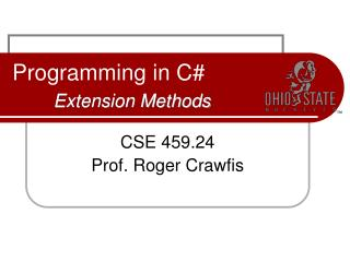Programming in C# Extension Methods