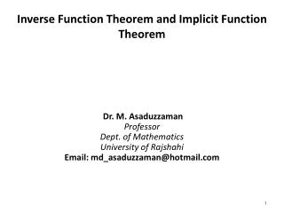 Inverse Function Theorem and Implicit Function Theorem
