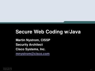 Secure Web Coding w