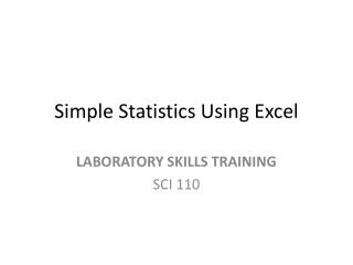 Simple Statistics Using Excel