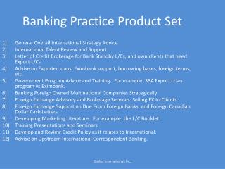 Banking Practice Product Set