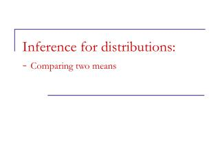 Inference for distributions: -  Comparing two means