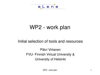 WP2 - work plan