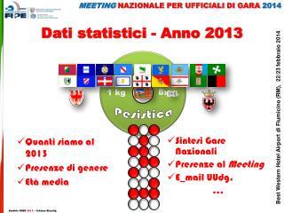 Dati statistici - Anno 2013