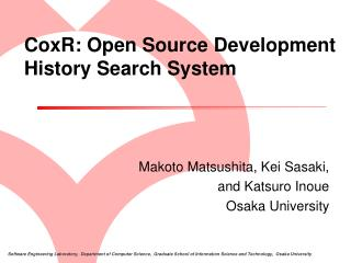 CoxR: Open Source Development History Search System