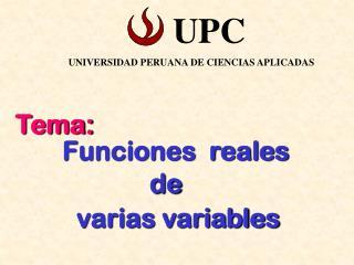 Funciones  reales                        de            varias variables
