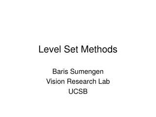 Level Set Methods