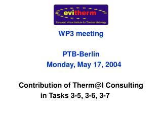 WP3 meeting PTB-Berlin      Monday, May 17, 2004 Contribution of Therm@l Consulting