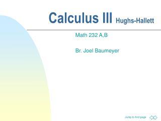 Calculus III  Hughs-Hallett