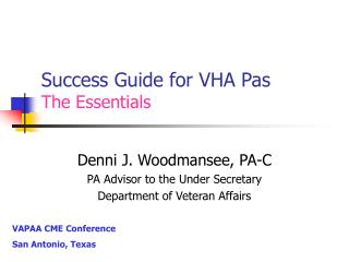 Success Guide for VHA Pas The Essentials