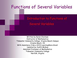 Functions of Several Variables             Introduction to Functions of  Several Variables