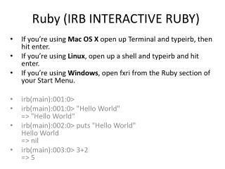 Ruby (IRB INTERACTIVE RUBY)