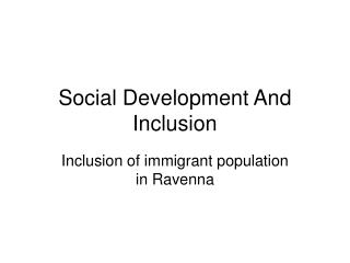 Social Development And Inclusion