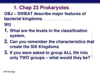 1. Chap 23 Prokaryotes