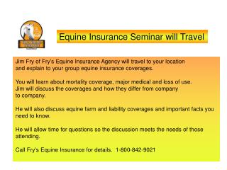Equine Insurance Seminar will Travel