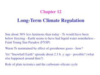 Chapter 12 Long-Term Climate Regulation