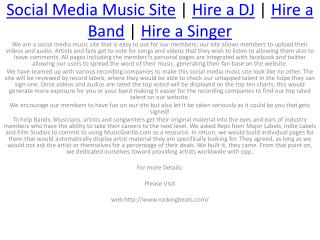 Hire a Singer | Hire a DJ for Party's,Function's,Weddings | Hire a Band