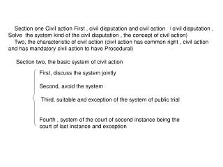 Section one Civil action First , civil disputation and civil action  ( civil disputation ,