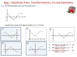 Test  – Quadratic  Fxns , Transformations, Co- ord  Geometry