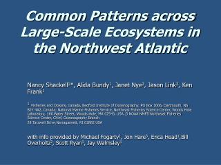 Common Patterns across Large-Scale Ecosystems in the Northwest Atlantic