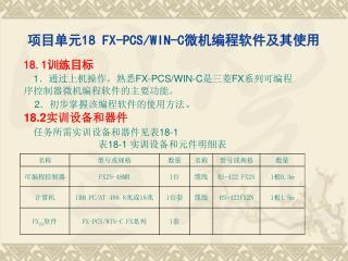 项目单元 18 FX-PCS/WIN-C 微机编程软件及其使用