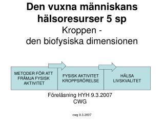 Den vuxna människans hälsoresurser 5 sp Kroppen -  den biofysiska dimensionen